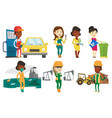 set of characters on ecology issues vector image vector image