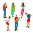 sick characters set of people with health problems vector image vector image