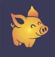 silhouette little golden pig vector image vector image