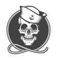 skull in a sailor hat on a marine rope loop emblem vector image vector image