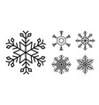 snowflake winter set of black isolated nine icon vector image