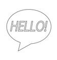 speech bubble with hello word icon design vector image