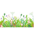 spring floral seamless border with green plants vector image