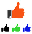 thumb up flat icon vector image vector image