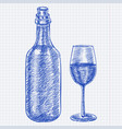 wine bottle and a glass of wine blue hand drawn vector image