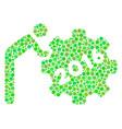 2016 working man mosaic icon of circles vector image vector image