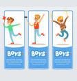 banners with boys in costumes and with festive vector image vector image