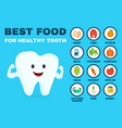 best food for healthy tooth strong tooth vector image vector image