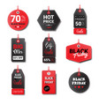 black friday sale tags collection isolated on vector image vector image