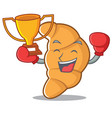 boxing winner croissant character cartoon style vector image vector image