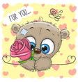 cartoon bear with flower on a yellow background vector image vector image