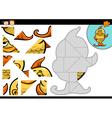 cartoon fish jigsaw puzzle game vector image vector image
