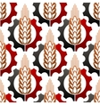 Cereal ears in gears seamless pattern vector image