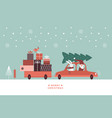 christmas santa and rabbit in knitted scarf are vector image