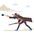 cowboy with a rifle throws a bomb the old wild vector image vector image