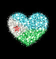 djibouti flag sparkling heart badge vector image vector image