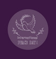 dove as symbol of international peace day vector image vector image
