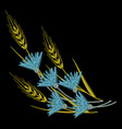 embroidery wheat ears and blue cornflowers vector image vector image