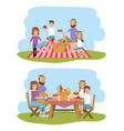 family together with basket to picnic recreation vector image