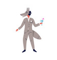 festive guy in wolf carnival mask flat vector image vector image