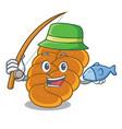 fishing challah mascot cartoon style vector image vector image