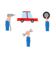 flat car service maintenance icons set vector image vector image