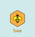 flat honey bee logo on blue background vector image