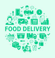 food delivery circle poster with silhouette icons vector image vector image