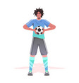 footbal player standing with ball man ready to vector image