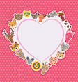 Funny Animals card template White heart on pink vector image