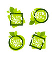 geometrical green tea labels logo emblems and vector image vector image