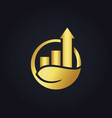 gold arrow business graph nature logo vector image vector image