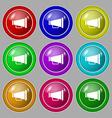 Gramophone web icon sign symbol on nine round vector image