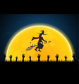 halloween poison bottle graveyard witch zombie vector image vector image