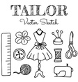 Hand-drawn Tailor Elements vector image vector image