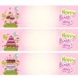 Happy Birthday card background with cakes vector image vector image