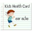 Health card with little boy and earache vector image vector image
