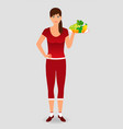 healthy sportswoman holding a fruit tray healthy vector image vector image