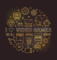 i love video games golden round linear vector image