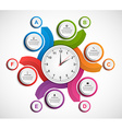 Infographics in the form of spirals and clock vector image vector image