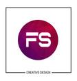 initial letter logo fs template design vector image
