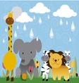 jungle animals cartoon 3 vector image vector image