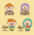 kids eat and play sticker collection vector image vector image