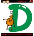 letter d for deer cartoon vector image