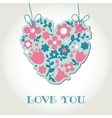 Love greetings card with floral heart vector image vector image