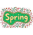 mandala and spring word doodle lettering colorful vector image vector image