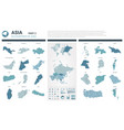 maps set high detailed 44 of asian countries vector image vector image