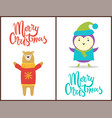 merry christmas congratulation with happy animals vector image vector image