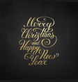 merry christmas text happy new year vector image vector image