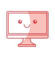 Monitor computer desktop kawaii character vector image